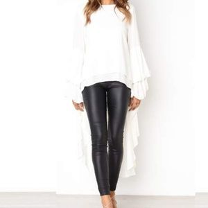 High-Low Peplum Blouse | Chiffon | White